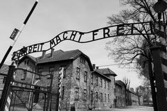 Entrance to Auschwitz concentration camp. Entrance gate to the Auschwitz concentration camp with the famous Arbeit macht frei sign, Oswiecim, Poland Royalty Free Stock Photography