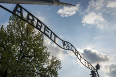 The entrance to Auschwitz II concentration camp in Brzezinka, Poland. Stock Photography
