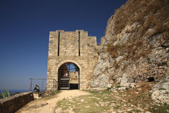 Entrance to Ayios Georgios Castle Stock Photo