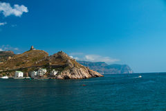 Entrance to the Balaklava Bay. And Krepostnaya Mount. Crimea, Balaclava Royalty Free Stock Photo