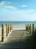Entrance to the beach. A wooden walkway to a white sand beach. Key West, Florida Stock Photo