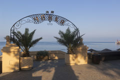 Entrance to the beach, `Seagull` in the early summer morning in the resort settlement of Adler, Sochi Stock Photos