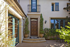 Entrance to a beautiful Mediterranean home exterior royalty free stock photo