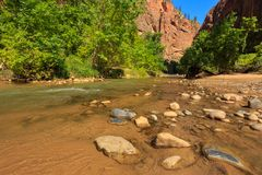 Entrance to beautiful the Virgin River Narrows canyon in Zion National Park, Utah. stock photos