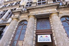 Entrance To Belgian Beer Museum, Located In The Main Square Grand Place In Brussels. Stock Photography