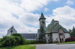 Entrance to Benedictine Abbey od Saint Benoit du lac Royalty Free Stock Image