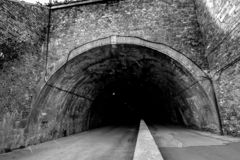 Entrance to a big dark tunnel, mystical. royalty free stock image