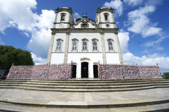 Entrance to Bonfim Church Salvador Bahia Brazil. Steps leading up to colorful wall of wish ribbons at the entrance to the Igreja Nosso Senhor do Bonfim da Bahia Stock Photos