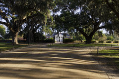 Entrance to Boone Hall Plantation. A stately historic southern mansion located in South Carolina called Boone Hall that dates back to colonial times viewed from Royalty Free Stock Photos
