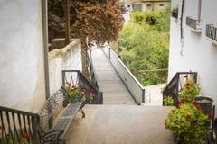 Entrance to the bridge that crosses the Guadalquivir River in Mogon, Jaen, Spain royalty free stock image