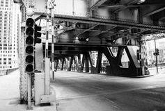 Entrance to a bridge over the Chicago river. Stock Photography