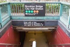 Entrance to Brooklyn Bridge City Hall Subway Station in New York Stock Image