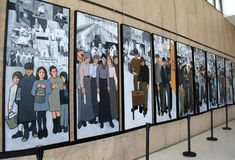 Entrance to building with panels of workers in Maine over the years, Maine State Museum, Augusta, 2018. Beautiful panels depicting different types of workers stock photos