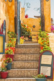 Entrance to the cafe on the island of Santorini Royalty Free Stock Photos