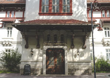 The entrance to Caraiman Hotel from Sinaia Royalty Free Stock Photography