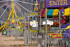 Entrance to carnival rides. The entrances to rides at a country fair stock image