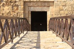 Entrance to the castle, close-up . Cyprus Paphos Royalty Free Stock Photography