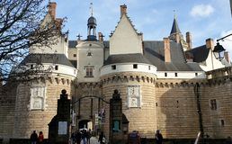Entrance to the castle of the Dukes of Breton, Nantes, France. stock photo