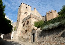 Entrance to the castle and its two towers in Monselice through the hills in the Veneto (Italy). Photo made in Monselice ancient medieval village that is located royalty free stock photos