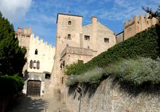 Entrance to the castle and its two towers in Monselice through the hills in the Veneto (Italy) Royalty Free Stock Image