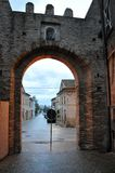 Petriolo medieval village in Marche Region, central Italy. The entrance to the castle of the medieval village of Petriolo. Marche region, central Italy royalty free stock photos