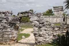 Entrance to the Castle of Tulum. This entrance to the castle of tulum is closed due to the authorities try to preserve the ruins as best as possible royalty free stock photos