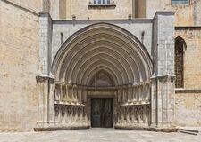 Entrance to the Cathedral of Girona. Spain stock photos