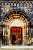 Entrance to the cathedral in Lund, Sweden.  royalty free stock photo