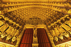 Entrance to Cathedral of Our Lady of Amiens Royalty Free Stock Photo