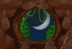 Entrance to cave night scene. Illustration royalty free illustration