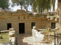 Entrance to the cave at Shepherds' Fields in Beit Sahour nearby Bethlehem, Israel Stock Images