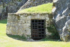Entrance to cellar or prison on Castle Rabi Stock Photography