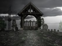 Entrance to cemetery. Entrance to an old abandoned cemetery Royalty Free Stock Image