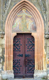 The entrance to the central cathedral in the city Sopron, Hungary Royalty Free Stock Image