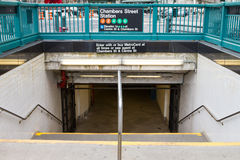 Entrance to Chambers Street Subway Station in New York City Stock Image