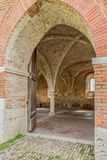 The entrance to the chapter hall of the Abbey of San Galgano stock photo
