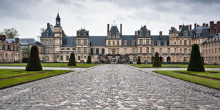Entrance to the Chateau de Fontainebleau, Paris Royalty Free Stock Photo