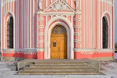 The entrance to the Chesmenskaya (Baptist) Church in winter on a. Sunny day Royalty Free Stock Image
