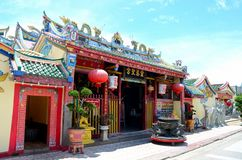 Entrance to Chinese temple with urn dragons and decorations Pattani Thailand royalty free stock image