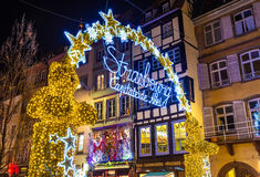 Entrance to the Christmas Market in Strasbourg - France royalty free stock photos