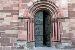 Entrance to church. Entrance to gothic style church. Southwest Germany Stock Photography