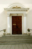 Entrance to the church. Old wood door Royalty Free Stock Images