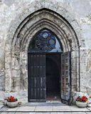 Entrance to the church, Cesis, Latvia Royalty Free Stock Photo