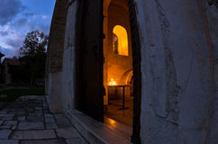 Entrance to church inside Studenica monastery at evening Royalty Free Stock Image