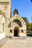 The entrance to the Church. The entrance to the Orthodox church. above the entrance to the image of Jesus Christ. input of an arch. Dome with a cross Royalty Free Stock Photos