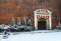 Entrance to the church of Saint Jacob in old Riga city, Latvia Stock Images