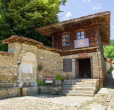 Entrance to the church of St. Nicholas in the Bulgarian village of Zheravna. Mountain eco-village Zheravna - Bulgarian national carpet center, rural tourism stock image