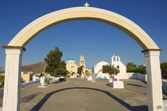 Entrance to the church yard, Oia, Santorini, Greece. Royalty Free Stock Images