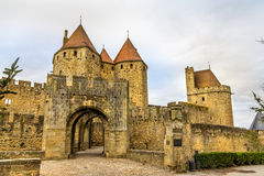 Entrance to the Cite de Carcassonne, a medieval citadel Royalty Free Stock Photo