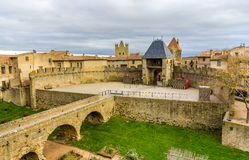 Entrance to the Cite de Carcassonne, a medieval citadel Stock Image
